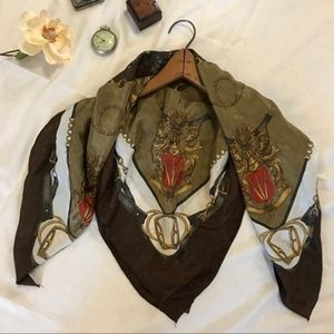 Vintage Stirrup Coat of Arms Horse Shiny Scarf